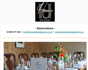 Creative | Haywards Restaurant Newsletter