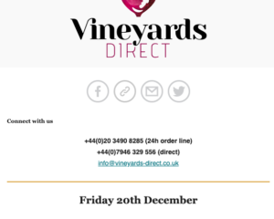 Creative | Vineyards Direct newsletter